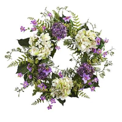 24 in. Indoor Artificial Hydrangea Berry Wreath