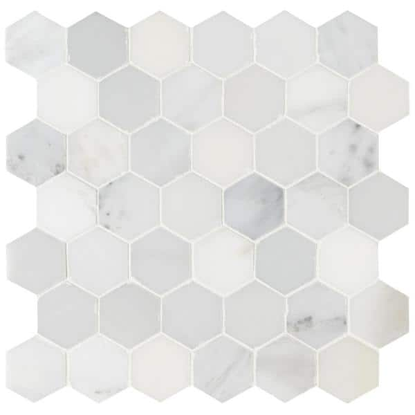 Msi Arabescato Carrara 11 75 In X 12 In X 10 Mm Honed Marble Mesh Mounted Mosaic Tile 9 8 Sq Ft Case Ara 2hexh The Home Depot