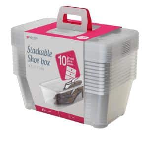 6.0 Qt. Clear Shoe and Closet Storage Box Stacking Container, 20-Boxes