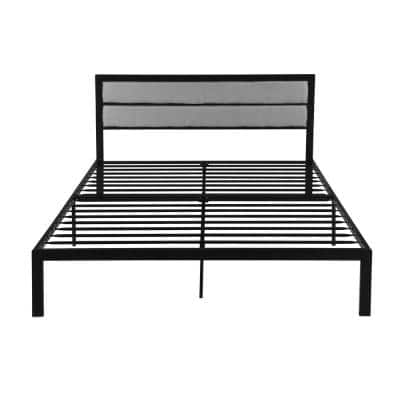 Monarda Contemporary Modern Queen-Size Flat Black Iron Bed Frame with Gray Fabric Accents