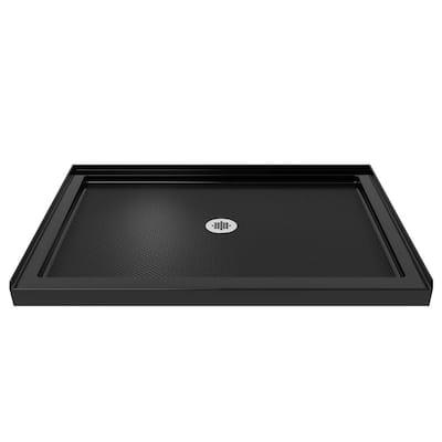 SlimLine 48 in. W x 36 in. D Single Threshold Shower Base in Black