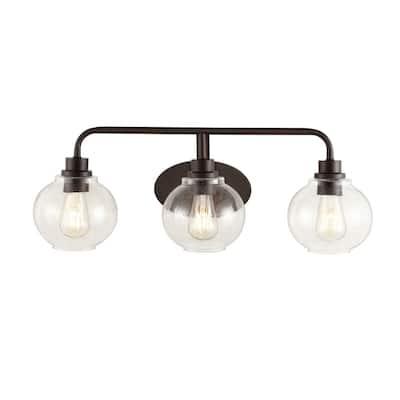 Sandrine 26.25 in. 3-Light Oil Rubbed Bronze Iron/Seeded Glass Cottage Rustic LED Vanity Light