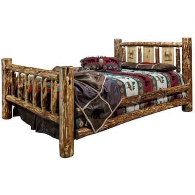 Glacier Brown King Laser Engraved Elk Motif Spindle Style Bed