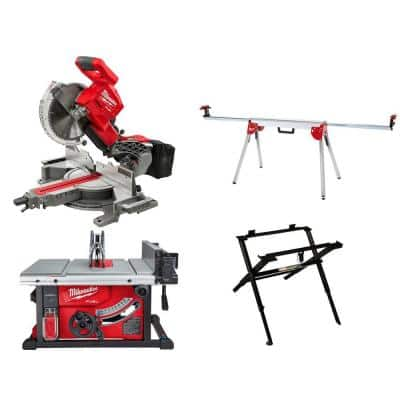 M18 FUEL ONE-KEY 18-Volt Lithium-Ion Brushless Cordless 8-1/4 in. Table Saw with Stand and 10 in. Miter Saw with Stand