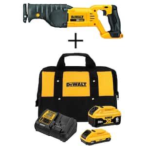 20-Volt MAX Cordless Reciprocating Saw with (1) 20-Volt Battery 6.0Ah, (1) 20-Volt Battery 4.0Ah & Charger