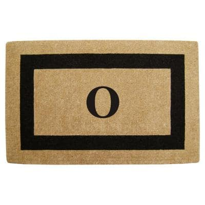 Single Picture Frame Black 30 in. x 48 in. HeavyDuty Coir Monogrammed O Door Mat
