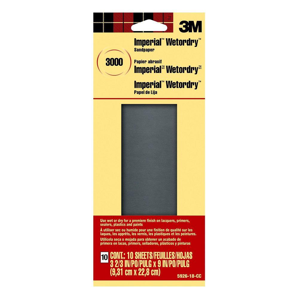 3-2/3 in. x 9 in. 3000 Grit, Super Ultra Fine Grade, Sandpaper (10 Sheets-Pack)