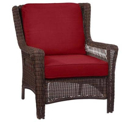 Park Meadows Brown Wicker Outdoor Patio Lounge Chair with Standard Chili Red Cushions
