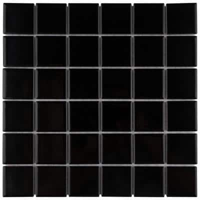 Metro Quad Glossy Black 12 in. x 12 in. Porcelain Mosaic Tile (9.79 sq. ft./Case)
