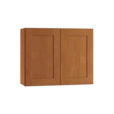 Hargrove Assembled 30 x 24 x 12 in. Plywood Shaker Wall Kitchen Cabinet Soft Close in Stained Cinnamon