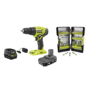 18V Cordless ONE+ 1/2 in. Drill/Driver Kit w/(1) 1.5 Ah Battery and Charger and Impact Rated Driving Kit (40-Piece)