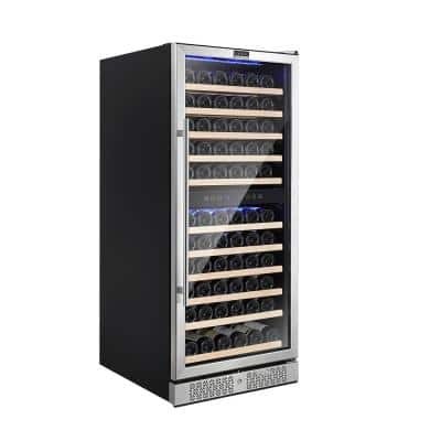 24 in. Dual Zone 116-Bottle Built-In and Freestanding Wine Cooler in Stainless Steel