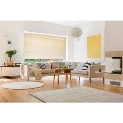 Roller Shades Beige Cordless Light Filtering Natural Fiber Fabric 37 in. W x 72 in. L