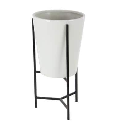 Black and White Iron Conical Planters with Stands (Set of 3)