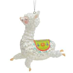 5 in. White and Green Glittered Regal Jumping Llama Glass Christmas Ornament