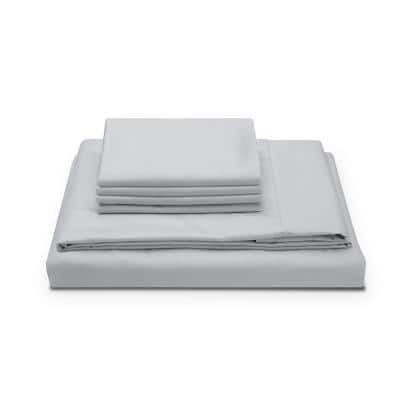 Performance Sateen 6-Piece Cloud Grey 300-Thread Count Cooling TENCEL Lyocell and Cotton Queen Sheet Set