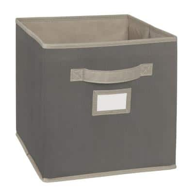 11 in. D x 11 in. H x 11 in. W Grey Fabric Cube Storage Bin