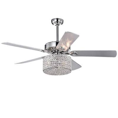 Rexen 52 in. Indoor Chrome Finsh Remote Controlled Ceiling Fan with Light Kit