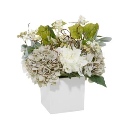 23 in. L x 20 in. H Teal and White Mixed Floral Arrangement in Square White Pot