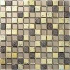 Yellow and Brown 11.7 in. x 11.7 in. Square Polished Glass and Stone Mosaic Tile (4.75 sq. ft./Case)