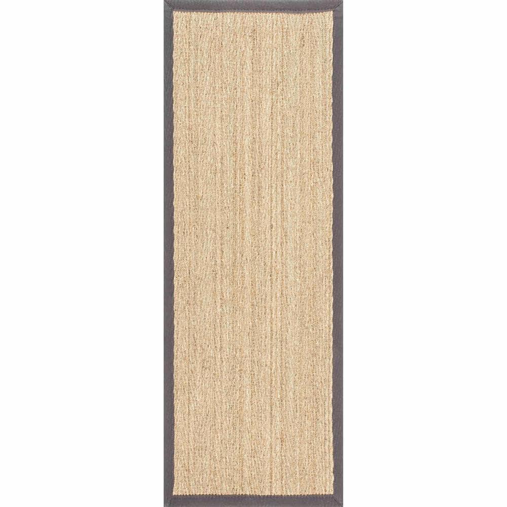 Nuloom Larnaca Seagrass Herringbone Dark Gray 2 Ft 6 In X 8 Ft Indoor Outdoor Runner Rug Hjsg02e 2608 The Home Depot