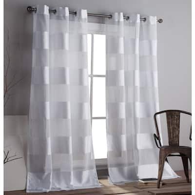 White Striped Rod Pocket Room Darkening Curtain - 37 in. W x 112 in. L (Set of 2)