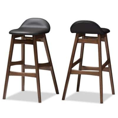 Bloom Black Faux Leather Upholstered 2-Piece Bar Stool Set