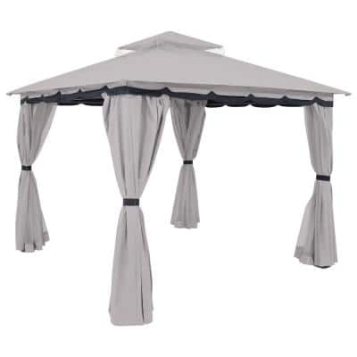 10 ft. L x 10 ft. L Soft Top Gray Gazebo with Mesh Screen and Privacy Walls