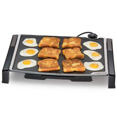 Tilt and Fold 254 sq. in. Black Electric Griddle with Temperature Sensor