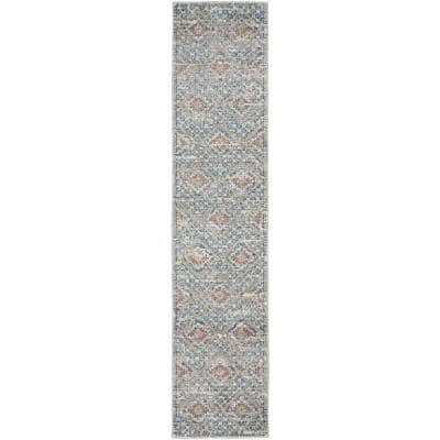 Concerto Blue/Ivory 2 ft. x 8 ft. Bordered Contemporary Runner Rug