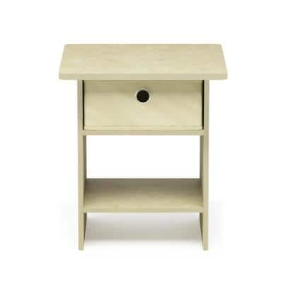 Home Living Cream Marble/Ivory End Table/Nightstand Storage Shelf with Bin Drawer