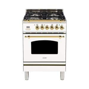 24 in. 2.4 cu. ft. Single Oven Italian Gas Range with True Convection, 4 Burners, Brass Trim in White