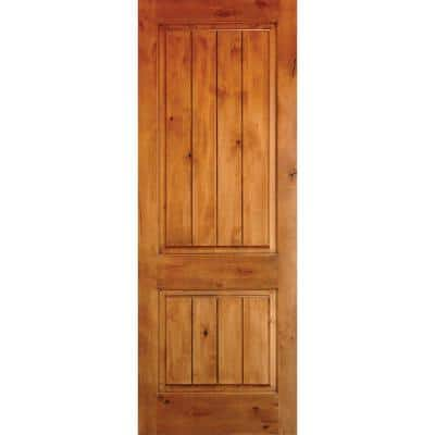 28 in. x 80 in. Rustic Knotty Alder 2-Panel Square Top V-Groove Unfinished Wood Front Door Slab