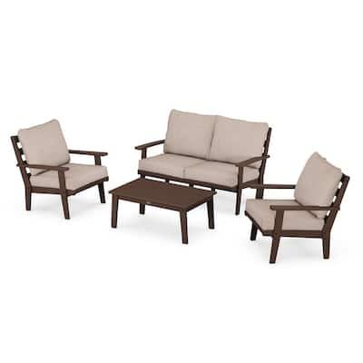 Grant Park Mahogany 4-Piece Plastic Patio Conversation Deep Seating Set with Wheat Cushions