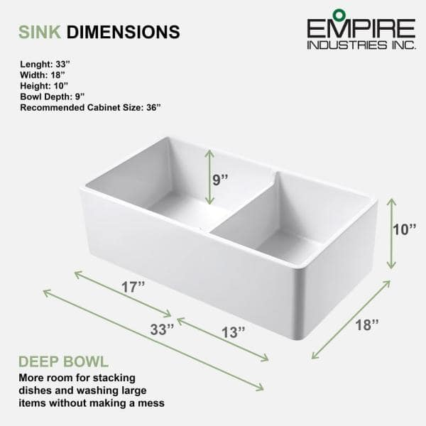 Empire Industries Olde London Farmhouse Fireclay 33 In 55 45 Double Bowl Kitchen Sink With Grid With Grid And Strainer Ol33dg The Home Depot