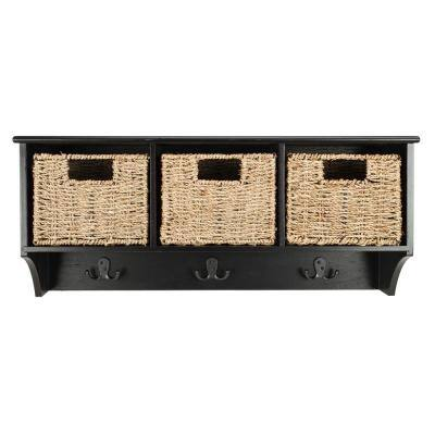 Finley Black Coat Rack with Storage