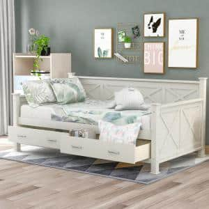White Twin Size Daybed with 2-Large Drawers and X-shaped Frame