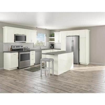 Courtland Shaker Assembled 18 in. x 84 in. x 24 in. Stock Pantry Kitchen Cabinet in Polar White Finish