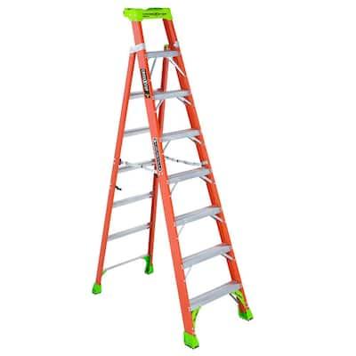 Cross Step 8 ft. Fiberglass Leaning Step Ladder (12 ft. Reach), 300 lbs. Load Capacity, Type IA Duty Rating