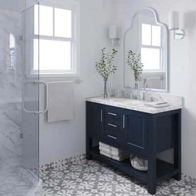 Bayhill 49 in. W x 22 in. D Bath Vanity in Midnight Blue with Marble Vanity Top in Carrara White with White Basin