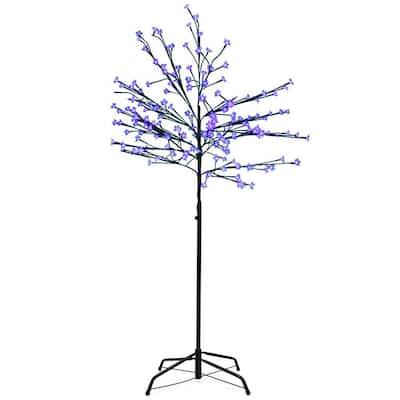 8 ft. LED Lighted Japanese Sakura Blossom Flower Tree and Blue Lights