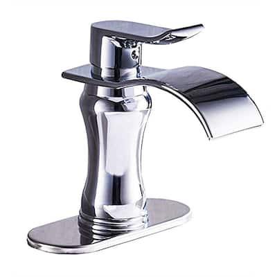 Brushed Chrome Single-Hole Single-Handle Waterfall Bathroom Faucet