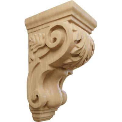 4 in. x 3-1/2 in. x 7 in. Unfinished Wood Cherry Small Traditional Acanthus Corbel