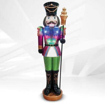 44 in. Small Nutcracker Resin with Scepter Outdoor Christmas Decor