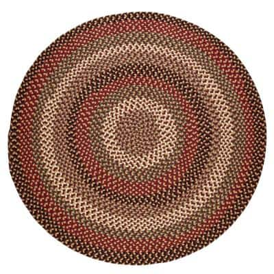 Country Medley Sangria 6 ft. x 6 ft. Round Indoor/Outdoor Braided Area Rug