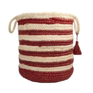 Striped Off-White / Red 17 in. Jute Decorative Storage Basket with Handles