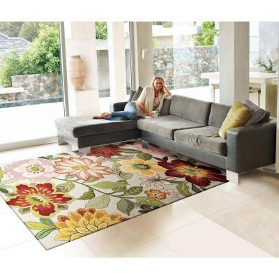 Spring Blossom Ivory 8 ft. x 11 ft. Floral Contemporary Area Rug