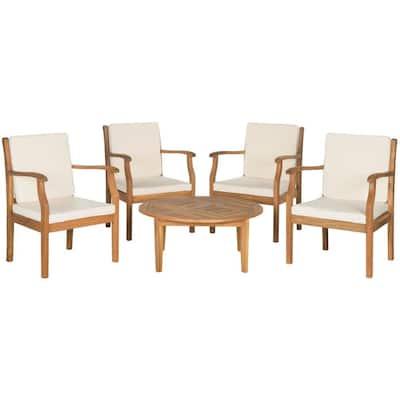 Colfax Teak Brown 5-Piece Wood Patio Conversation Set with Beige Cushions