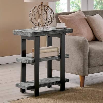 Pomona Slate Gray Metal and Reclaimed Wood 2-Shelf End Table