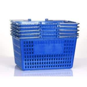 15.5 in. L x 11.5 in. W x 8 in. H Blue Plastic Storage Baskets (Set of 5)